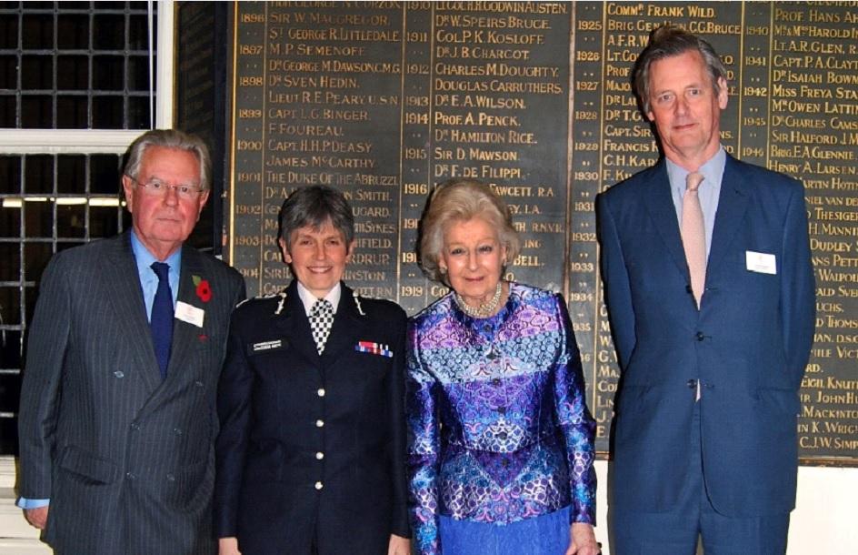 RHS Chairman, John Grandy, Commissioner Dame Cressida Dick, HRH Princess Alexandra, RHS Deputy Chairman, Charles Spicer.