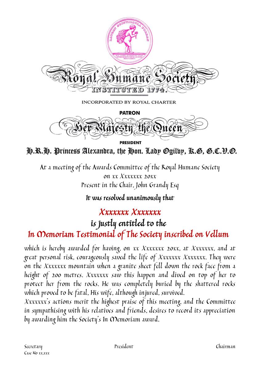In Memoriam Certificate