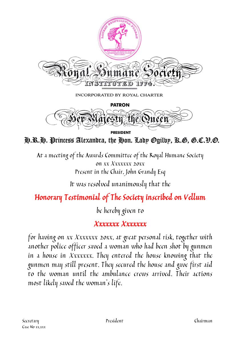 Vellum Certificate