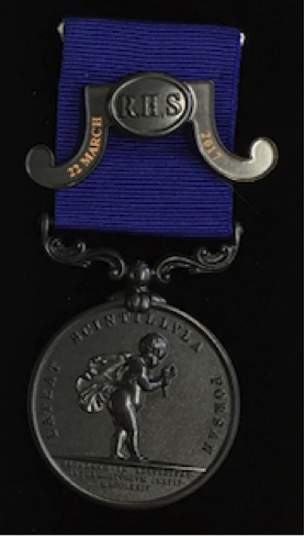 RHS Bronze Medal with clasp mounted